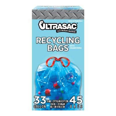 33 Gal. Drawstring Blue Recycling Bags (45-Count)