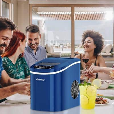 14 in. 26 lbs. Portable Compact Electric Ice Maker Machine Mini Cub in Navy