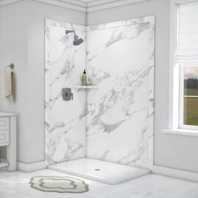 Elegance 36 in. x 48 in. x 80 in. 7-Piece Easy Up Adhesive Corner Shower Wall Surround in Calacatta White