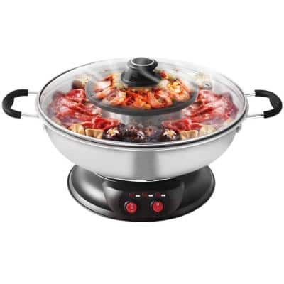 Shabu Shabu Stainless Steel Electric Wok HotPot with BBQ Grill