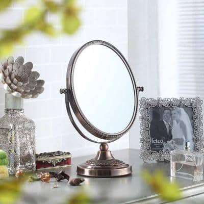 12.25 in. Copper Chrome Oval 5x Magnify Makeup Mirror