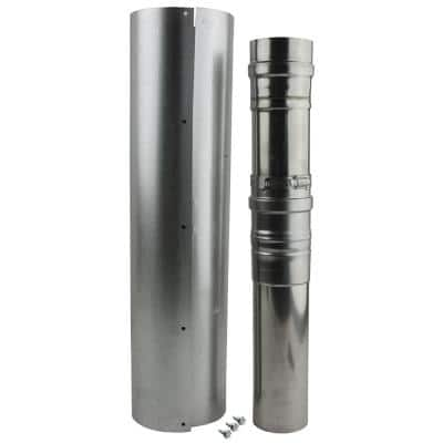 Adjustable Vent Length 3 x 5 in. Stainless Steel Concentric Vent for Indoor Tankless Gas Water Heaters