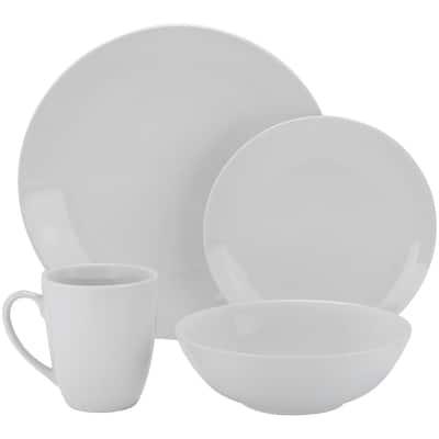 16-Piece Casual White Porcelain Dinnerware Set