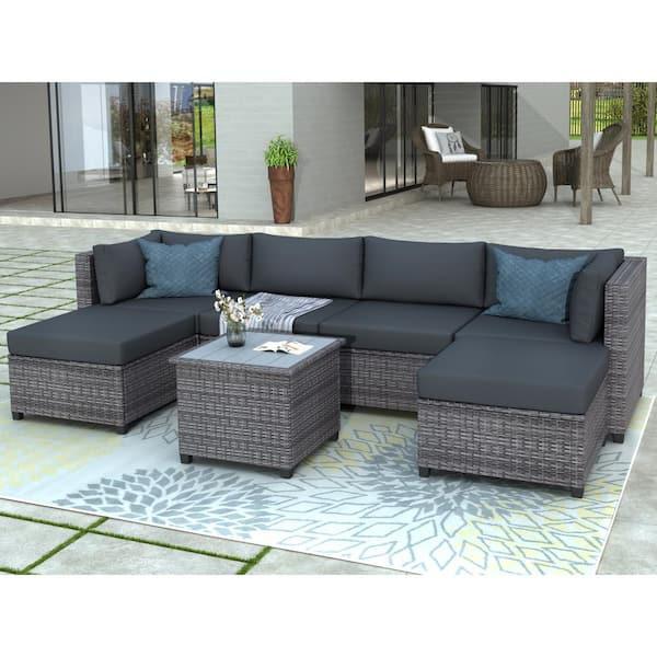 Boyel Living Gary 7 Piece Wicker Rattan, Grey Rattan Garden Furniture With Blue Cushions