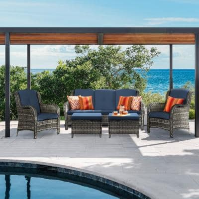 Joyside 5-Piece Wicker Outdoor Patio Seating Set Sectional Sofa with Blue Cushions and Cover