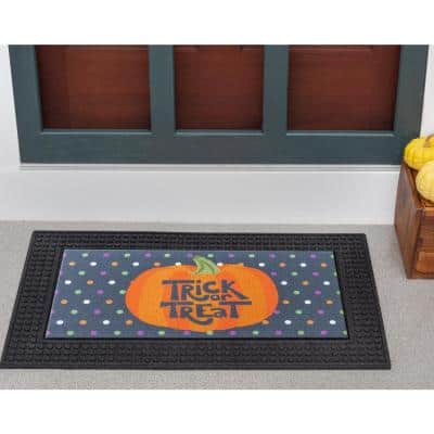 LED Halloween Polka Dots Pumpkin 18 in. x 30 in. Rubber Light and Sound Door Mat