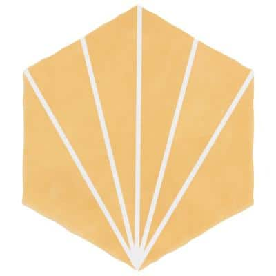 Palm Starburst Hex Mustard 6 in. x 7 in. Porcelain Floor and Wall Tile (2.97 sq. ft./Case)