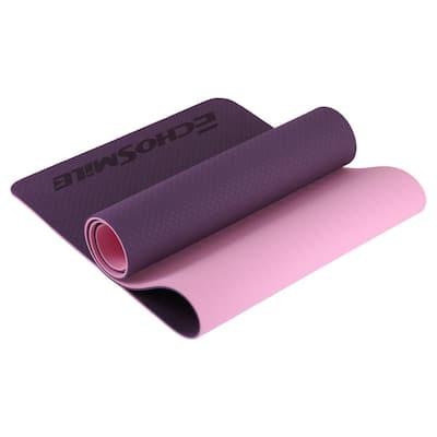EchoSmile Purple 24.02 in. W x 72.05 in. L x 0.24 in. H TPE Yoga Mat (11.9 sq. ft.)