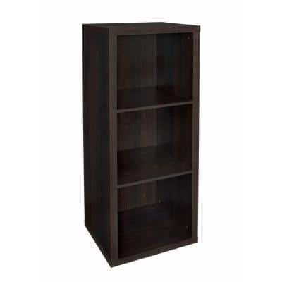 44 in. H x 16 in. W x 14 in. D Black Walnut Wood Look 3-Cube Storage Organizer