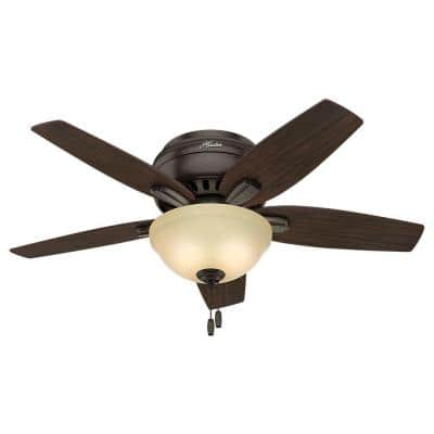 Newsome 42 in. Indoor Low Profile Premier Bronze Ceiling Fan with Light Kit