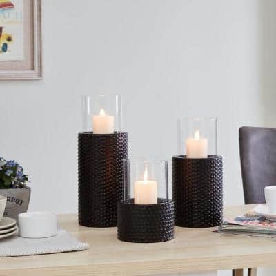 Contemporary Candle Holders with Clear Glass Hurricanes and Textured Metal Base (Set of 3)