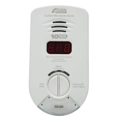10 Year Worry-Free Plug-In Carbon Monoxide Detector with Battery Backup, Digital Display, and Safety Light
