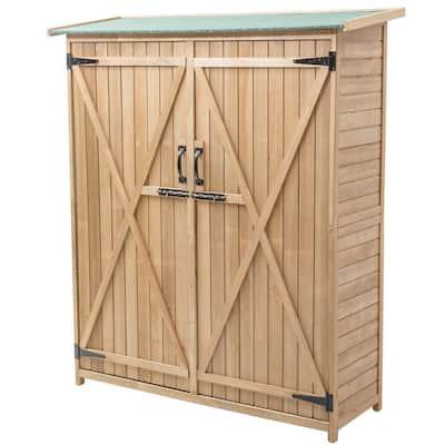 64 in. Wooden Storage Shed Outdoor Garden Fir Wood Cabinet