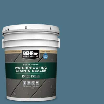 5 gal. #SC-107 Wedgewood Solid Color Waterproofing Exterior Wood Stain and Sealer