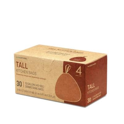 10 Gal. - 13 Gal. Tall Kitchen Drawstring Closure Trash Bags (30-Count)