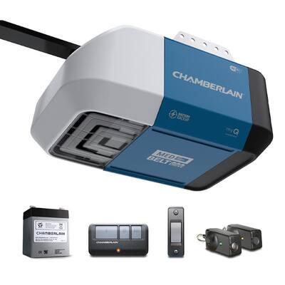 1/2 hp. Belt Drive Wi-Fi Smart Garage Door Opener with Battery Backup + Single Button Garage Door Opener Remote