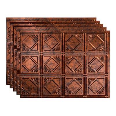 Traditional 4 18 in. x 24 in. Moonstone Copper Vinyl Decorative Wall Tile Backsplash 15 sq. ft. Kit