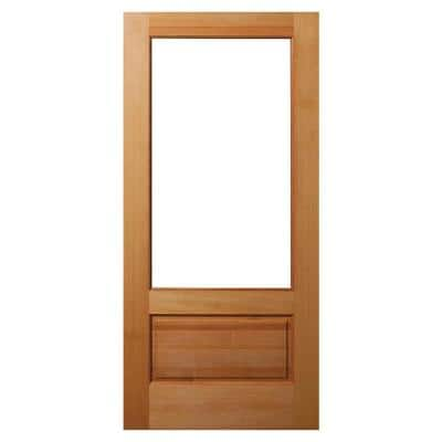 36 in. x 80 in. 1 Panel Universal/Reversible 3/4-Lite Clear Glass Unfinished Fir Wood Front Door Slab