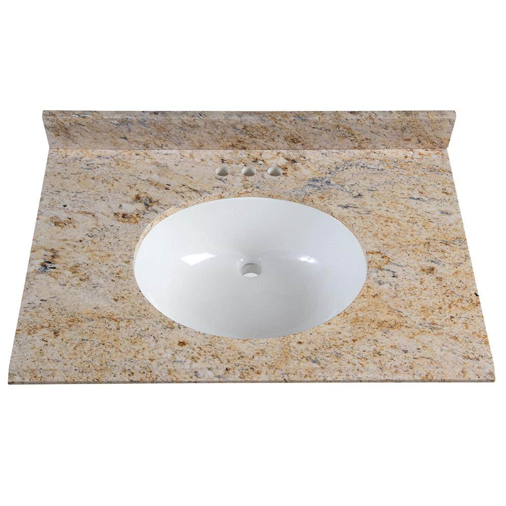 St Paul 31 In X 22 In Stone Effects Vanity Top In Tuscan Sun With White Sink Seo3122com Tu The Home Depot