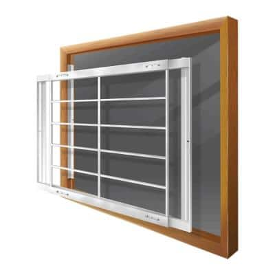 Removable 42 in. to 54 in. Adjustable Width 6-Bar Window Guard, White
