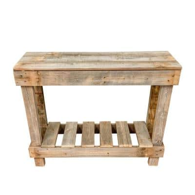 36 in. Natural Standard Rectangle Wood Console Table with Storage