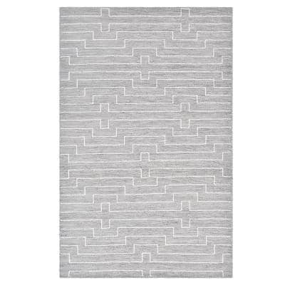 Barry Contemporary Flatweave Gray 9 ft. x 12 ft. Hand Woven Area Rug