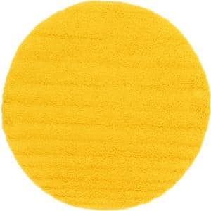Solid Shag Tuscan Sun Yellow 8 ft. Round Area Rug