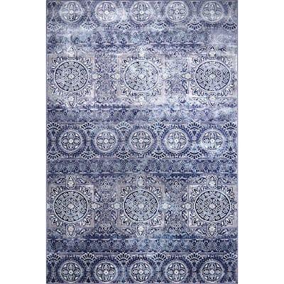 Bazaar Crystal Blue 5 ft. 2 in. x 7 ft. 9 in. Indoor Area Rug