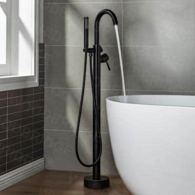 Milan Single-Handle Freestanding Floor Mount Tub Filler Faucet with Hand Shower in Oil Rubbed Bronze