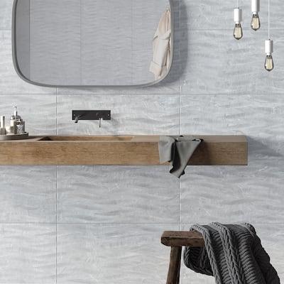 Varana 25 in. x 13 in. Grey Glazed Porcelain Decorative Wall Tile (2.15 sq. ft. / each)