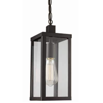 Oxford 14.25 in. 1-Light Black Outdoor Pendant Light with Clear Glass
