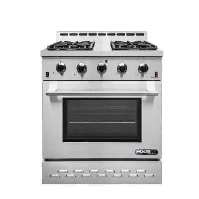 Entree 30 in. 4.5 cu. ft. Professional Style Liquid Propane Range with Convection Oven in Stainless Steel and Black