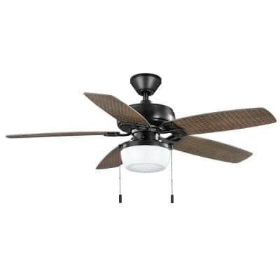 Baywood 52 in. Indoor/Outdoor LED Matte Black Wet Rated Downrod Ceiling Fan with Light Kit