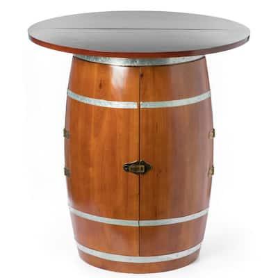 Brown Wine Barrel Round Table Wine Storage Cabinet