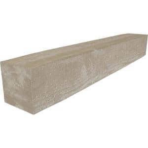 8 in. x 10 in. x 7 ft. Rough Sawn Faux Wood Beam Fireplace Mantel White Washed