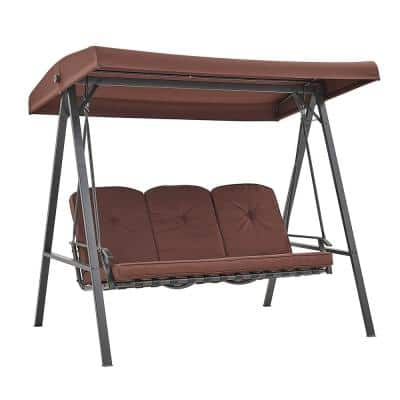 3-Person Steel Rocker Outdoor Patio Porch Swing Chair in Brown with Adjustable Canopy