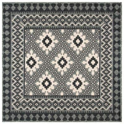 Veranda Ivory/Charcoal 8 ft. x 8 ft. Aztec Geometric Indoor/Outdoor Square Area Rug