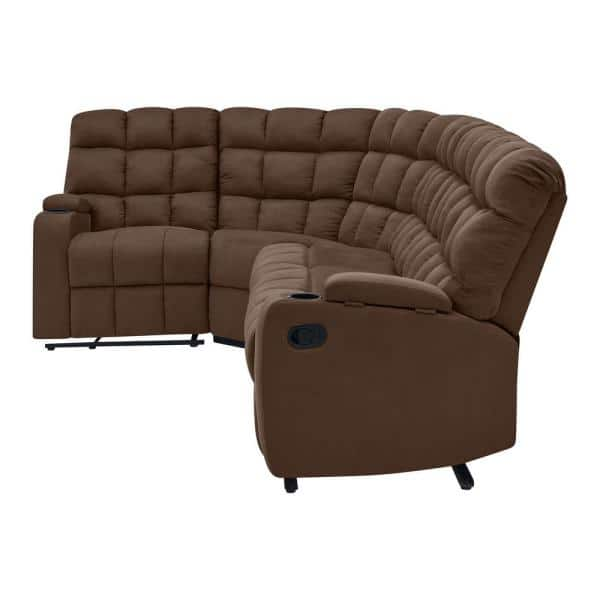 Curved Recliner Sofa Off 69, Curved Leather Reclining Sectional Sofa