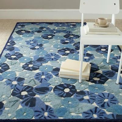 Martha Stewart Azurite Blue 4 ft. x 6 ft. Border Floral Area Rug