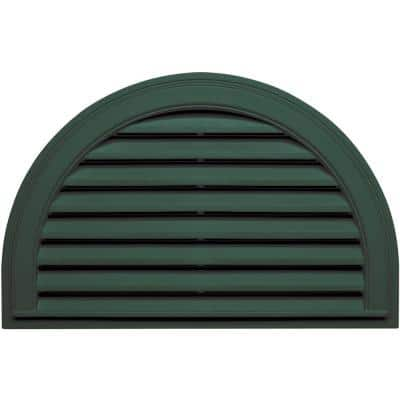 34.1875 in. x 22.128 in. Half Round Green Plastic Built-in Screen Gable Louver Vent