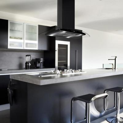 36 in. 343 CFM Convertible island Mount Range Hood in Black Painted Stainless Steel with Glass and Carbon Filters