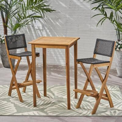 Polaris Natural 3-Piece Wood Square 41 in. Outdoor Serving Bar Set