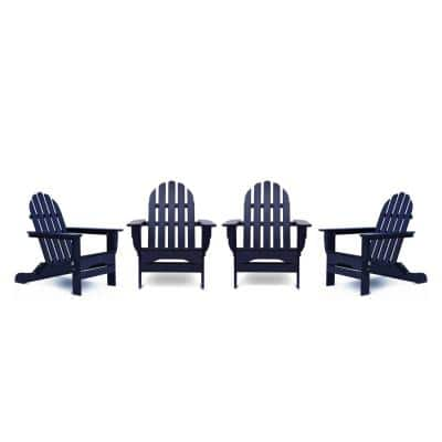 DUROGREEN Icon Navy 4-pc Plastic Adirondack Chair Patio Seating Set