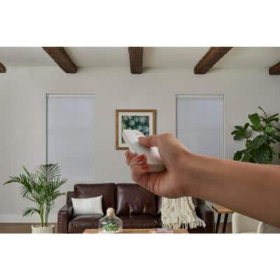 White Cordless Blackout Motorized Cellular Shade with Remote Control  - 34 in. W x 72 in. L