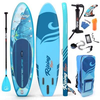 10.5 ft. Blue Rising Flow Paddleboard SUP Stand Up Water Paddle Board with Waterproof Mobile Phone Case