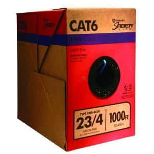 1,000 ft. 23/4 Solid CU CAT6 CMR (Riser) Data Cable in Blue