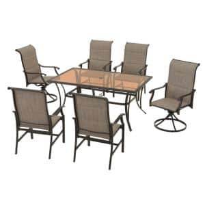 Riverbrook Espresso Brown 7-Piece Outdoor Patio Steel Rectangular Glass Top Dining Set with Padded Sling Chairs