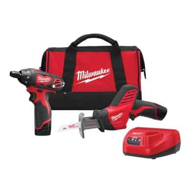 M12 12-Volt Lithium-Ion Cordless Screwdriver/HACKZALL Combo Kit (2-Tool) with Two 1.5 Ah Batteries, Charger and Tool Bag
