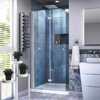 Aqua Fold 29.5 in. x 72 in. Frameless Pivot Shower Door in Chrome with Handle