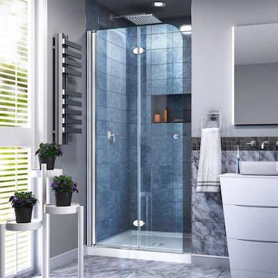 Aqua Fold 33.5 in. x 72 in. Semi-Frameless Hinged Shower Door in Chrome